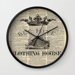 western country garden farmhouse beekeeper honey bumble bee hive Wall Clock
