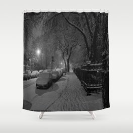 Chicago in Snow: A Study in White and Black #1 (Chicago Winter Collection) Shower Curtain