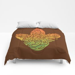 Prehistoric Print (brown) Comforters