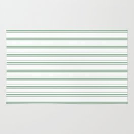Mattress Ticking Wide Horizontal Striped Pattern in Moss Green and White Rug