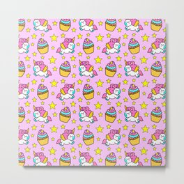 Cute colorful magical baby unicorns and sweet yummy cupcakes and bright golden stars pink fantasy pattern design. Nursery decor ideas. Funny gifts for unicorn lovers. Metal Print
