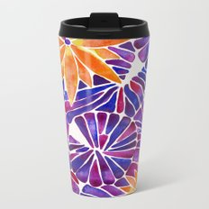Water Lilies – Purple & Orange Palette Metal Travel Mug