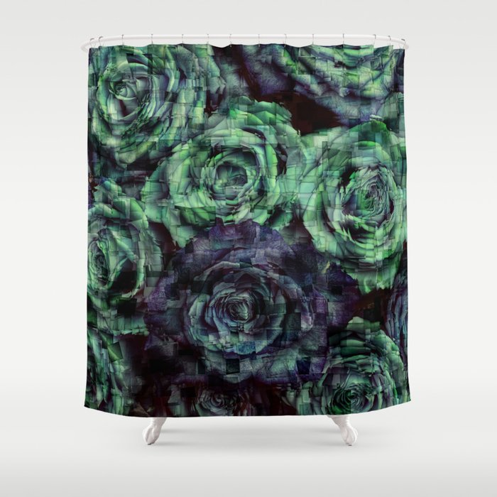 Roses Mosaic Shower Curtain By Serigraphonart