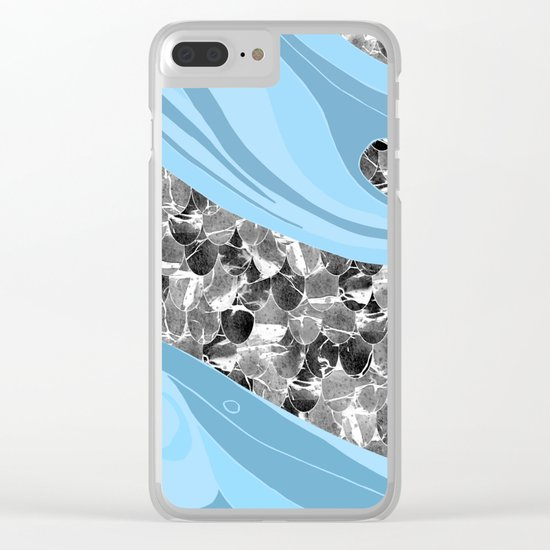 Blue Waves Abstract Mermaid Scales Pattern Clear iPhone Case