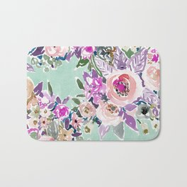 Mint SO LUSCIOUS Painterly Floral Bath Mat