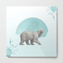 Mr Polar bear says Merry Christmas Metal Print