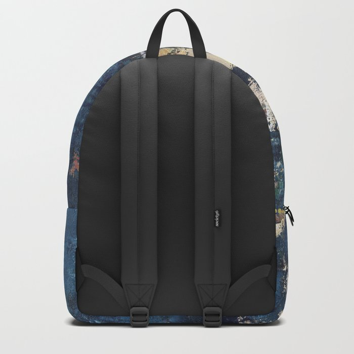 Peacock Blue Abstract Painting Vibrant Modern Art Backpack