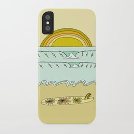single fin simple life // longboard retro surf art by surfy birdy iPhone Case