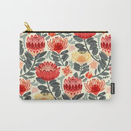 Protea Chintz - Grey & Red Carry-All Pouch