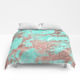 Modern rose gold turquoise white stylish marble Comforters