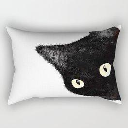 Black Cat Peeking Sideways Rectangular Pillow