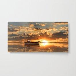 The fishing boat at sunset Metal Print