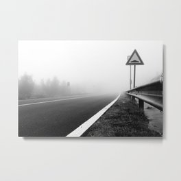 Attention to guardrail Metal Print