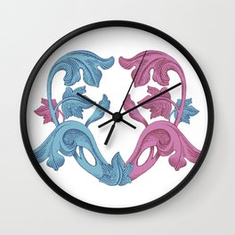 Heart pink & Azur Wall Clock