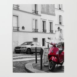 Red Vespa in Paris Poster