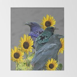 THREE CROWS/RAVENS  YELLOW SUNFLOWERS ON GREY ART Throw Blanket