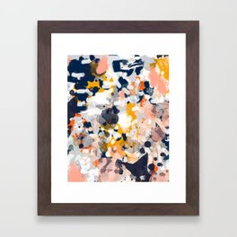 Stella II - Abstract painting in modern fresh colors navy, orange, pink, cream, white, and gold Framed Art Print