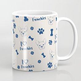 Cute ivory navy blue love Frenchie bulldog typography Coffee Mug