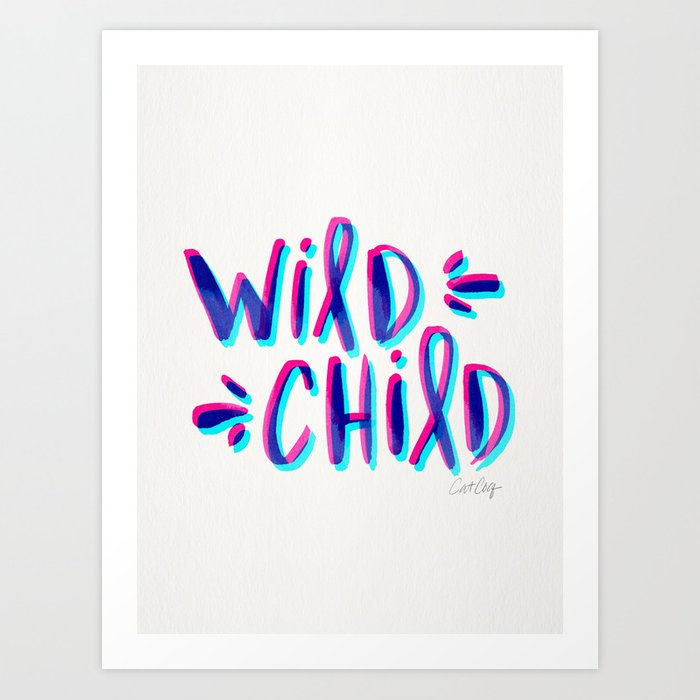 Wild Child – Magenta & Cyan Palette Art Print