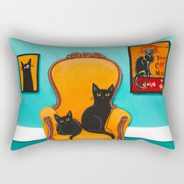 Black Cat in the Turquoise Room Rectangular Pillow