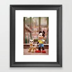Mickey and Pluto Framed Art Print