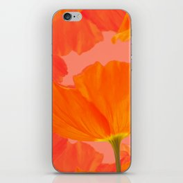 Beautiful Poppies Coral Color Background #decor #society6 #buyart iPhone Skin