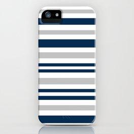 Horizontal stripes , gray , blue ,white iPhone Case