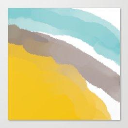 Watercolor Yellow Grey Blue Stripes Canvas Print