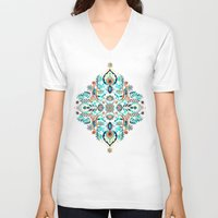 folk V-neck T-shirts featuring Modern Folk in Jewel Colors by micklyn