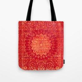 Geometric Orange Oriental Vintage Traditional Moroccan Mandala Tote Bag