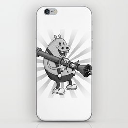 Retro Cartoon Hippo iPhone Skin