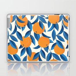 Oranges and blue leaves vintage illustration pattern Laptop & iPad Skin