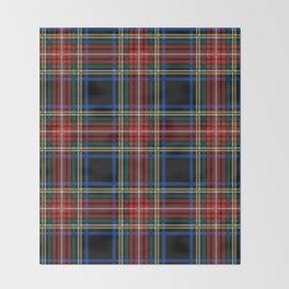 Minimalist Black Stewart Tartan Throw Blanket