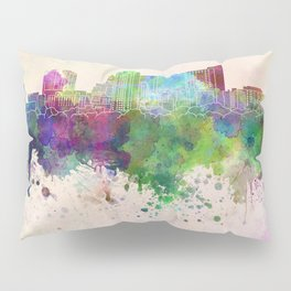 Rochester MN skyline in watercolor background Pillow Sham