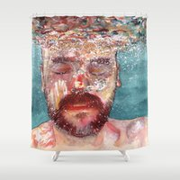 watercolour Shower Curtains featuring Watercolour by Jose Manuel Hortelano-Pi