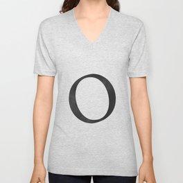 Letter O Initial Monogram Black and White Unisex V-Neck