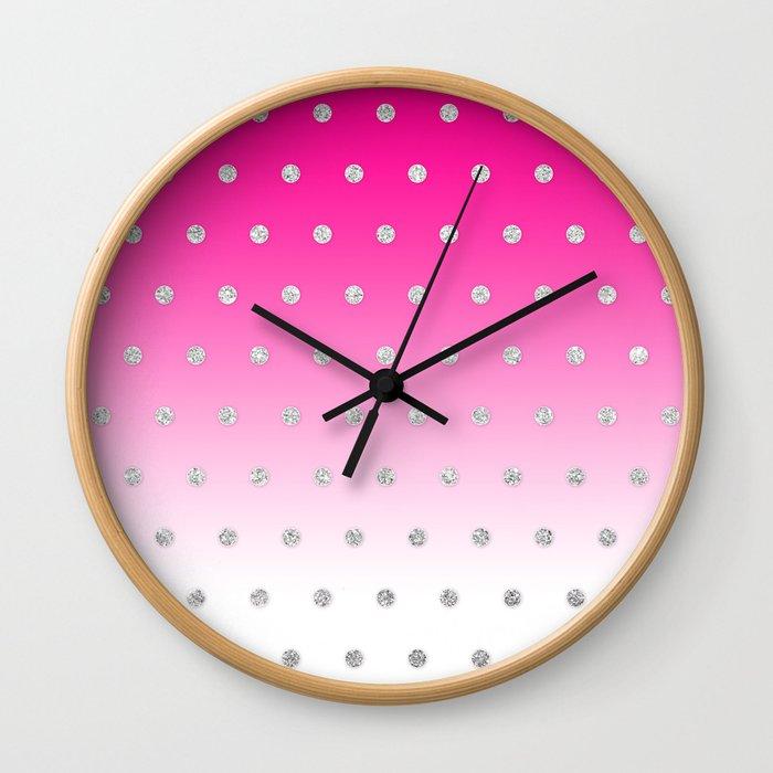 Girly Modern Glitter Polka Dots Neon Pink Ombre Wall Clock