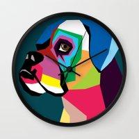 dog Wall Clocks featuring dog by mark ashkenazi