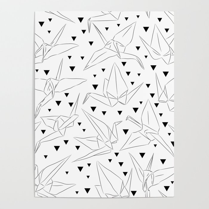 Japanese Origami White Paper Cranes Sketch Symbol Of Happiness