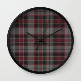 Red Hatched Plaid Wall Clock