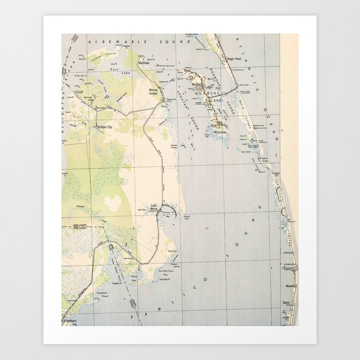 Vintage Map of Roanoke Island & Outer Banks NC Art Print by ... on