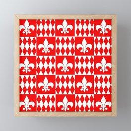 Red and white fleur de lis and diamonds checker Framed Mini Art Print