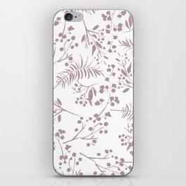 Mauve pink white elegant modern floral iPhone Skin