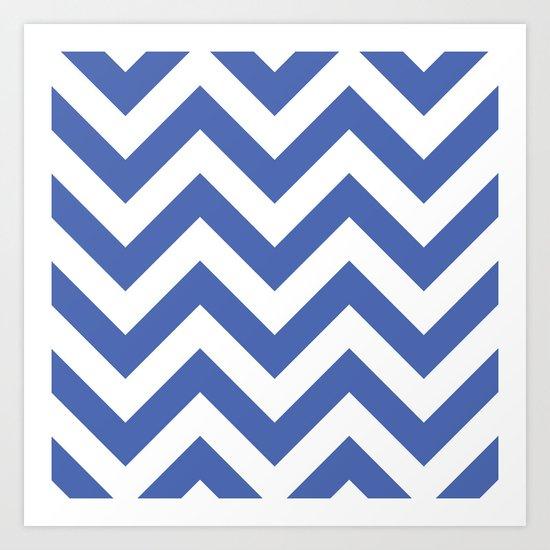 Large chevron pattern / royal blue Art Print