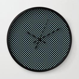 Black and Aqua Haze Polka Dots Wall Clock
