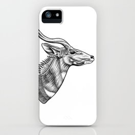 Lesser kudu ink illustration iPhone Case