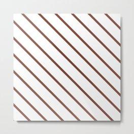 Diagonal Lines (Maroon & White Pattern) Metal Print