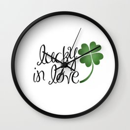 Lucky In Love | Four Leaf Clover Wall Clock