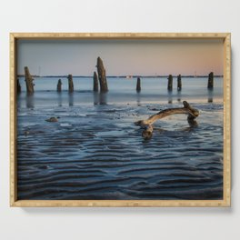 Coastal / Beach Art Driftwood And Sandbars - Low Tide and Sunset at the Shore Serving Tray