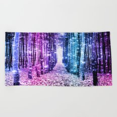 Magical Forest : Aqua Periwinkle Purple Pink Ombre Sparkle Beach Towel